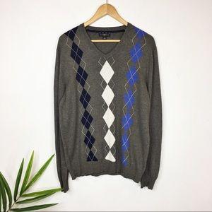 CLUB ROOM argyle sweater v-neck 100% cotton 0399